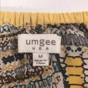 Umgee Tops - Umgee USA blouse top shirt M blue yellow geo print